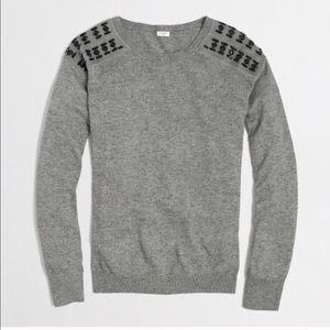 J. Crew Factory Gray Warmspun Jeweled Sweater